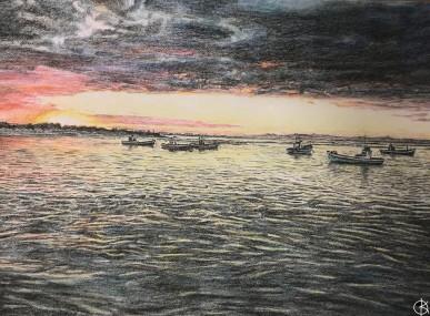 colour sketch boats